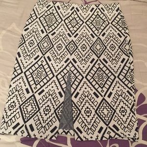 Zara Tribal Print Front Slit Pencil Skirt